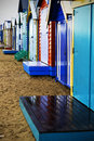Wet bathing boxes colorful on a beach Stock Image