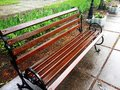 Wet bench after the rain Royalty Free Stock Photo