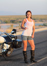 Wet Biker Chick Royalty Free Stock Photos