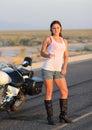 Wet Biker Chick Royalty Free Stock Photo
