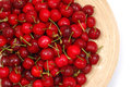 Wet cherries close up in plate Stock Photo