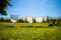 Wet clothes in the washing line Royalty Free Stock Photo