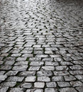 Wet cobbles of block pavement Royalty Free Stock Photo
