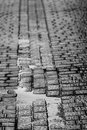 Wet cobblestone road during a rainy day Royalty Free Stock Images