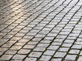Wet cobblestones close up image of cobbled surface at night Royalty Free Stock Photography