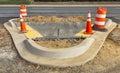 Wet concrete on new sidewalk construction Royalty Free Stock Photo