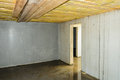 Wet faulty builded cellar and damp basement in a new building Royalty Free Stock Images