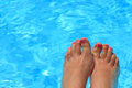 Wet female feet inside water Stock Photography