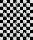 Wet floor black white tiles Royalty Free Stock Photography