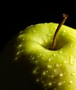 Wet green apple detail of a in dark back Royalty Free Stock Image
