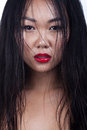 Wet hair asian young woman portrait. Glamour fashion style. Brig Royalty Free Stock Photo