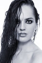 Wet hair duotone portrait of young beautiful sexy woman with Royalty Free Stock Images
