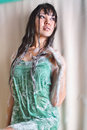 Wet model in a green dressing gown and suds photo stidio of Stock Photography