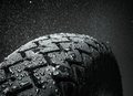 Wet motorcycle tire tread close up shot of classical in weather condition Royalty Free Stock Images