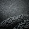 Wet motorcycle tire tread close up shots of classical tires in weather condition Royalty Free Stock Photo