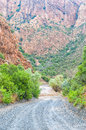 Wet nuwekloofpas descending into the baviaanskloof a new valley pass baboon valley during a rain storm Royalty Free Stock Photo