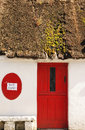 Wet paint quaint building front with a thatched roof and red door in ireland Royalty Free Stock Photo
