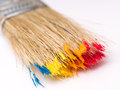 Wet paintbrush with paint colors Royalty Free Stock Photography