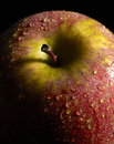 Wet red apple detail of a in dark back Royalty Free Stock Photos
