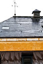 Roof of urban house in rain Royalty Free Stock Photo