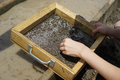 Wet sieving for diamonds Royalty Free Stock Photo