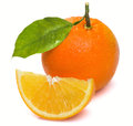 Wet with a slice of orange and leaf on white background Royalty Free Stock Images