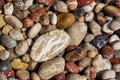 Wet stones pebbles on the Mediterranean coast Royalty Free Stock Photo