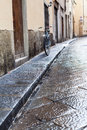 Wet street in Florence city in autumn rain Royalty Free Stock Photo
