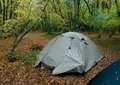 Wet tent in wood Royalty Free Stock Image