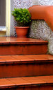 Wet Terra Cotta Tile Steps Stock Photos