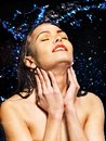 Wet woman face with water drop moisturizing Royalty Free Stock Photo