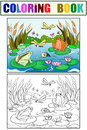 Wetland landscape with animals coloring vector for adults Royalty Free Stock Photo