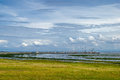 Wetlands wadden sea and salt marshes of the and the harbour of schiermonnikoog netherlands Stock Photos