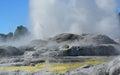 Whakarewarewa valley of geysers in new zelandii geotermalny park abbreviation completely same it sounds like te whakarewarewatanga Royalty Free Stock Photo