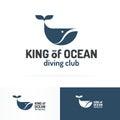 Whale emblem set blue color flat style isolated on white backgro Royalty Free Stock Photo