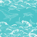 Whale family swimming in the ocean waves, pattern seamless Royalty Free Stock Photo