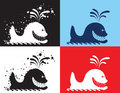 Whale ink drawn silhouettes set Royalty Free Stock Images