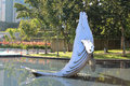 Whale model in city garden Royalty Free Stock Photo