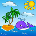 Whale near the tropical island with palms funny vector illustration Stock Image