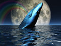 Whale on oceans surface with full moon Royalty Free Stock Photo