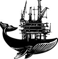 Whale oil rig woodcut style image of a with an off shore on its back Stock Images