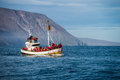 Whale watching boat in Husavik Royalty Free Stock Photo