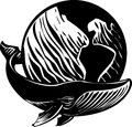 Whale world woodcut style image of a and the earth Royalty Free Stock Photography