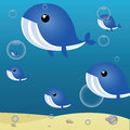 Whales cute herd on abstract sea background Stock Photography