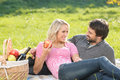 What a beautiful day loving young couple enjoying an intimate p picnic together Stock Image