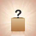 What is in the box vector illustration of a large black question mark a Stock Images