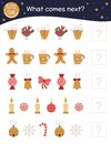 What comes next. Christmas matching activity for preschool children with cute characters. Funny winter game for kids.
