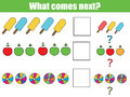 What comes next educational children game. Kids activity sheet, continue the row task Royalty Free Stock Photo
