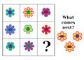 What comes next educational children game. Kids activity sheet, training logic, continue the row task Royalty Free Stock Photo