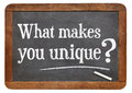 What makes you unique question on a vintage blackboard isolated on white Royalty Free Stock Photography